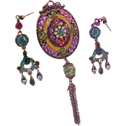 Exquisite  Varied Jeweled Paste  Medallion~Earrings  Brass Accents~Exotic Rhinestones ~DEMI PARURE