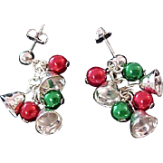 Silver Bells~Silver  Bells ~Red & Green Ornaments ~ Post Earrings