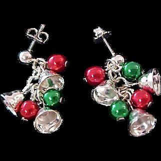 Silver Bells~Silver  Bells ~Red & Green Ornaments ~ Post Earrings