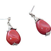 Awesome CARNELIAN GLASS ~Marcasite Post Earrings