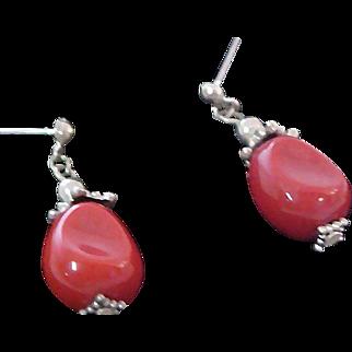 Awesome CARNELIAN GLASS ~Marcasite Post Earrings
