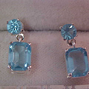LAB Created Blue Topaz Silver Plate Post Earrings