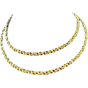 14K Gold Plate ~ Substaional TORSADE (Twisted Rope) Necklace