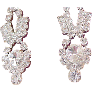 Lavish Diamante Pave` ~ Rount Cut  Articulate Crystals Dangle Post Earrings