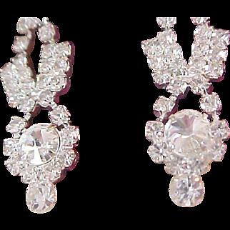 Lavish Diamante Pave` ~ Rount Cut  Articulate Crystals Dangle Post Earrings