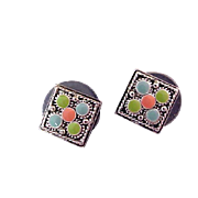 Designer NAPIER ~ Coral~Turquoise~Blue Cabochons~ Square Cut Silver Plate Earrings