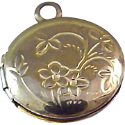Art Nouveau ~Chased Small Locket 12K Gold Plate