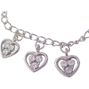 Hearts of Diamante Silver Plate Bracelet