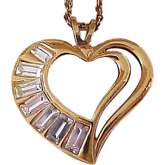 Shimmering Open HEART  Pendant ~ Featuring Pave` Crystal Baguettes Necklace by Designer Avon