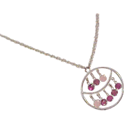 Rose Fuuchsia & Cotton Candy Pink Bezel Rhinestone~Silver Plate Pendant & Chain