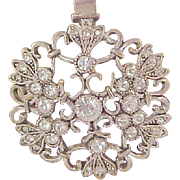 Lavish Diamante ~ Open Workmanship Silver Plate Pendant