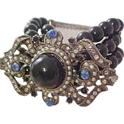Cabochon~Deep  Sea Blue ~ Tiny Seed Pearls ~ AB Rhinestones~ Cobalt Blue Beads~ Expandable Antique Silver Chunky Bracelet