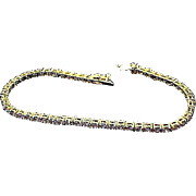 "14k Vermeil over Sterling~ Lab Created  Amethyst Tennis Bracelet.- ~ 8"""