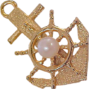 12K Gold Plate~ANCHORS AWAY~Cultured Pearl Dimensional Anchor Brooch/Pin