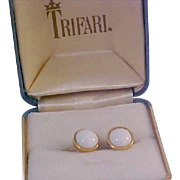 High End CROWN TRIFARI  Milk White Cabochons & Gold Plate Post Earrings