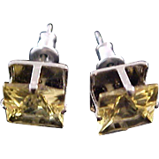 Lab Created Amber Square Cut Faceted Silver Plate Post Earrings