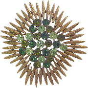 Crown Trifari Style ~ Simulated Emerald and Peridot Green STARBURST Brooch