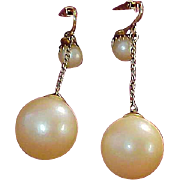 Bouncy Simulated 1940's CREAMY  PEARLS ~  Clip SHOULDER Length Earrings
