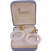 Stunning Milk White HOOPS Trademarked CROWN TRIFARI  Clip Earrings.
