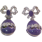Royal  and REGAL   Purple ART Glass Earrings & Diamante`~Egg or Teardrop~Post Earrings