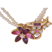 Two Strands Simulated Seed Pearls~Gold Plate Accents~Amethyst & Pink R.S. NECKLACE