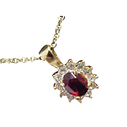 Lab Created DARK RUBY studded Pave` Diamante ~ July Birthstone Pendant & Chain