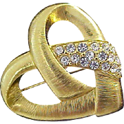 Lavish Textured  Gold Plate Diamante` Brooch~ Valentines Day