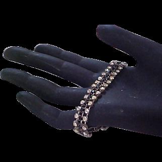 Lavish Pave Clear & Black Crystals ~ Three Row EVENING Silver  Plate Bracelet