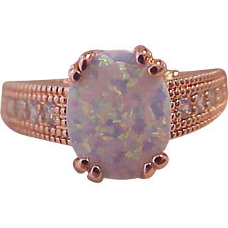 Captivating 2.00 CTW Lab Created  White Fire OPAL~ Tiny Simulated  Diamond Accents ~Engagement~18K Rose Gold Plating RING ~Sz 8