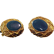 Exquisite Swirled Blue-Green Oval Cabochon Clip Earrings
