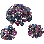 Runway * DeLizza & Elster* aka JULIANA * Purples & Blues Demi-Parure Brooch*Clip Earring  SUITE.