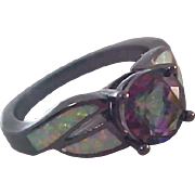 Genuine Mystic Topaz WATERMELON~Lab Created Criss-Criss  Opals~Japanned Black Setting Ring~Sz.8
