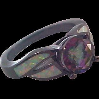 Genuine Mystic Topaz WATERMELON~Lab Created Criss-Criss  Opals~Japanned Black Setting Ring~Sz.8