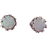 Scintillating OPAL  2 CTW~ Crown Set ~  Silver Plate Post Earrings
