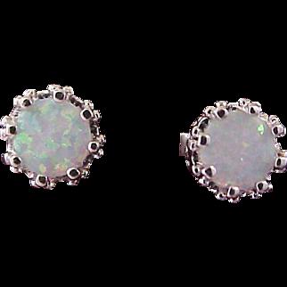 Scintillating OPAL  2 CTW~ Crown Set ~  Silver Plate Post Earrings