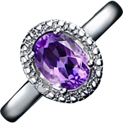 18K White Gold Plated 4.00 Carat  ~ Genuine Amethyst and Marcasite Accent Ring - Size 6