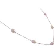 Scintillating 18K White Gold Fill Chain~  FRESHWATER  PEARLS  Necklace~ 18""