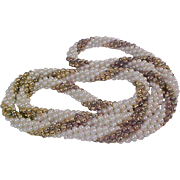 Captivating TORSADE Twisted Gold & Simulated Pearls SAUTOIR Necklace