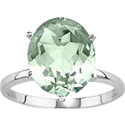 Lavish Genuine  Green Amethyst  ~ STERLING SILVER Oval Cut Ring- Size
