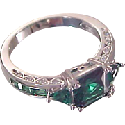 Genuine Emerald Cut  ~ Emerald Chatons ~ Trillion Cut ~ Sterling Silver  Ring~ Sz. 7 1/4