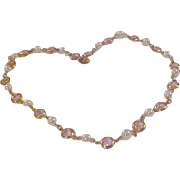 Rose Pink BEZEL Set SWAROVSKI Crystals ~Simulated Pearl Necklace