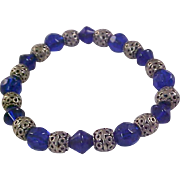 Cobalt Crystal Beads~Silver Plate Filigree Beads~ Expandable Bracelet