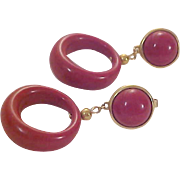 Mid Century Mauve  CROWN TRIFARI Dangle Hoop  Clip Earrings