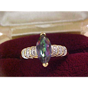 WATERMELON Marquis Cut ~ Marcasoite ~ 14K Gold Fill RING ~ Size 8