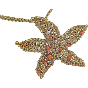 Red Coral Cabochon ~ Diamante  STARFISH ~ Filigree Gold Plate Pendant &  Double Strands Gold Tone  Chain ~ Necklace