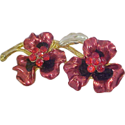 Red Enamel & Rhinestone METAL PANSIES ~ Heavy Gold Plate Metal