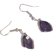 18K White   Gold Plate ~ Genuine Amethyst ~ Tear Drop Cut Dangle Earrings