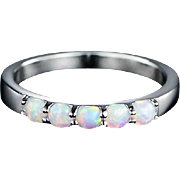 Sparkling  Opalescent ~5 Genuine Opals~Spectrum of Fiery Colors~Set in 18K White Gold Plate