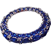 Lab Created Oval Blue Sapphire  ~  18K White Gold Plated  ETERNITY Ring