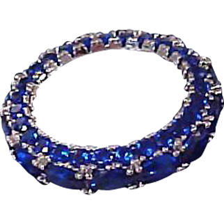Lab Created Oval Blue Sapphire  ~  18K White Gold Plated  ETERNITY Ring~ Size 6